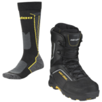 ski-doo socks and boots for golden snowmobile tours