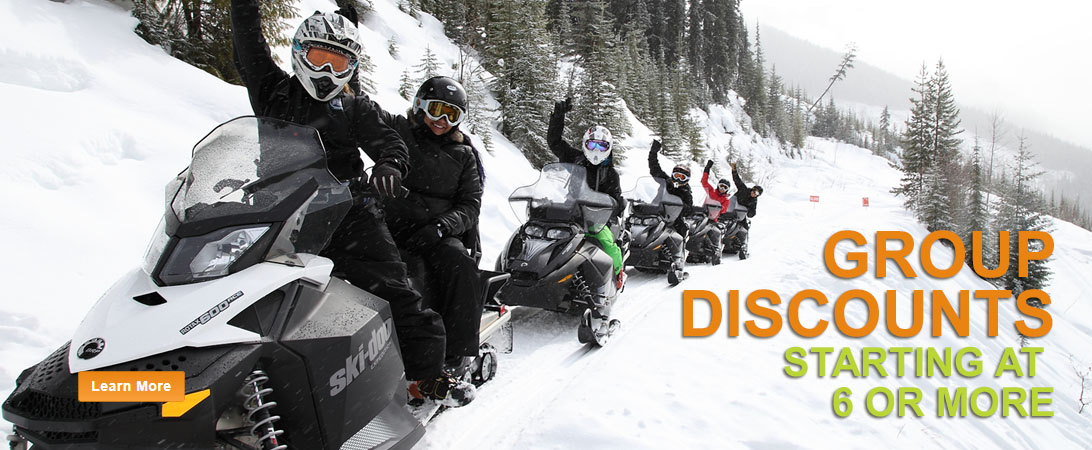 group discounts for snowmobile tours in golden bc