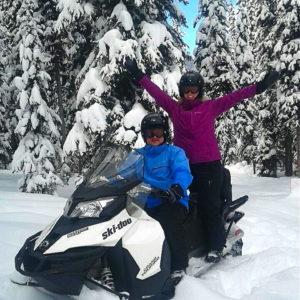 Snowmobile Tour Guests having Fun!